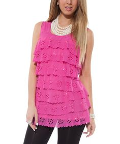Look at this #zulilyfind! Lily Pink Eyelet Tiered Sleeveless Top by Lily #zulilyfinds
