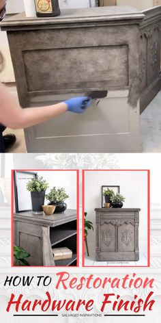 Today I'm sharing how to create a gorgeous Greige RH Finish with only 2 two colors! Thrift Store Furniture, Diy Furniture Redo, Thrift Store Crafts, Repurposed Furniture, Dresser Furniture, City Furniture, Furniture Projects, Redoing Furniture, Furniture Design