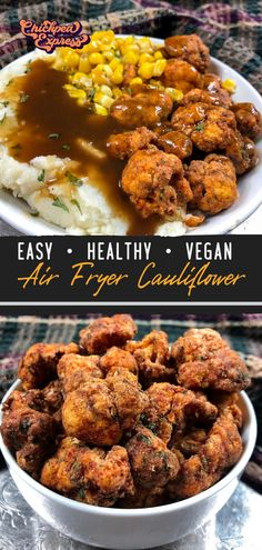 Copycat kfc fried chicken with a vegan twist. Made with air fried cauliflower, this kfc cauliflower recipe is healthy and oil free! Just like the kfc fried chicken, seasoned with 13 spices. Air Fryer Recipes Vegan, Veggie Recipes, Whole Food Recipes, Vegetarian Recipes, Dinner Recipes, Cooking Recipes, Healthy Recipes, Healthy Junk Food, Veggie Meals