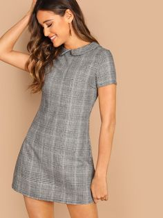 Product name: Peter-Pan-Collar Plaid Dress at SHEIN, Category: Dresses Plaid Dress, Boho Dress, Cute Dresses, Short Dresses, Maxi Dresses, Dress Outfits, Fashion Outfits, Dress Clothes, Frack