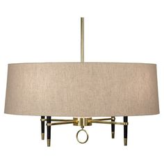 Robert Abbey Jonathan Adler Ventana Single Shade Chandelier - Ebonyed Wood w/ Antique Brass