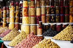 A stall selling olives and pickled vegetables (Morocco)