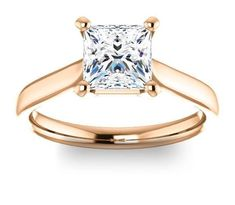 1.30ct (6.0mm) Princess 14K Rose Gold Solitaire Engagement Ring