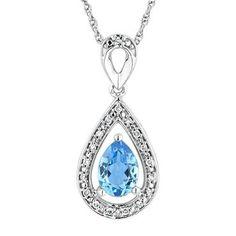 Swiss Blue Topaz and Diamond Fashion Teardrop Pendant - Item 19331602 | REEDS Jewelers