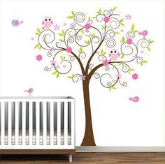 Vinyl Decals Tree with Flowers BirdsNursery Wall por Modernwalls