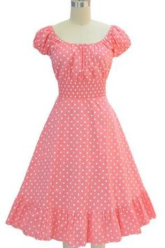 pink & white polka dot in 2020 Frock For Women, Dress Clothes For Women, Girl Clothing, Dress Outfits, Casual Dresses, Short Dresses, Baby Dresses, Dresses Dresses, African Fashion Dresses