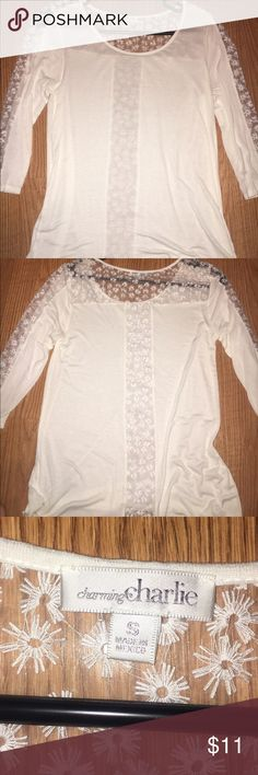 White Mid-Length shirt White, Lace on back and too of shoulders, lace has a floral design, super soft Charming Charlie Tops Tees - Long Sleeve