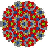 A Penrose tiling is a non-periodic tiling generated by an aperiodic set of prototiles.