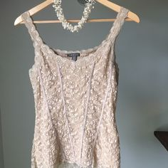 Corset Style Lace Cami Sz S Cream lace stretch Cami by Apt 9.  Fun twist to a familiar shape. Apt. 9 Tops Camisoles