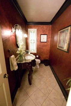 Faux finished walls in powder room, and black trim. Tuscan Bathroom, Spanish Bathroom, Bathroom Red, Rustic Bathrooms, Small Bathroom, Master Bathroom, Bathroom Ideas, Faux Painting Walls, Faux Walls
