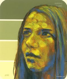 """""""Girl, Yellow"""" by Jeff Wrench. Acrylic on paint chip."""