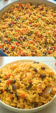chicken side dishes Ive tried so many variations of Rice and Beans, and this one is definitely the winner! It makes an amazing side dish, or a satisfying meal. I honestly cant wait Rice Recipes For Dinner, Mexican Food Recipes, Vegetarian Recipes, Cooking Recipes, Healthy Recipes, Vegan Vegetarian, Rice And Beans Recipe Vegetarian, Vegan Rice Dishes, Ark Recipes