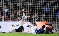 FC Barcelona's goalkeeper Jose Manuel Pinto, left, saves a ball during a Copa del Rey soccer match against Real Sociedad at the Camp Nou...