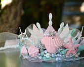 Seafoam/Pale rose Mermaid Couronne de l'enfant.  Parfait pour les fêtes d'anniversaire de sirène.