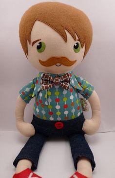 Oskar - handmade cloth doll, rag doll. $65.00, via Etsy.