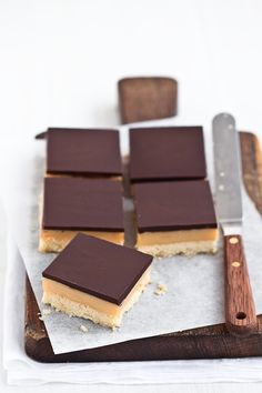 Chocolate caramel shortbread bars. how can i get my husband to make these for me??
