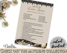 Movie Love Quote Game in Seashells And Pearls Bridal Shower Brown And Beige Theme, chick flick game, beige bridal, party décor - 65924 #bridalshower #bride-to-be #bridetobe