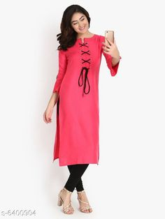 Kurtis & Kurtas Women's Solid Rayon Slub Kurti Fabric: Rayon Slub Sleeves: 3/4 Sleeves Are Included Size:  M - 38 in L - 40 in XL - 42 inXXL - 44 in Length: Up To 46 in Type: Stitched Description: It Has 1 Piece Of Women's Kurti Work: Embroidered & Tassel Work Country of Origin: India Sizes Available: M, L, XL, XXL   Catalog Rating: ★4.1 (482)  Catalog Name: Free Mask Women'S Printed Cotton Kurtis CatalogID_398614 C74-SC1001 Code: 704-6400904-0201