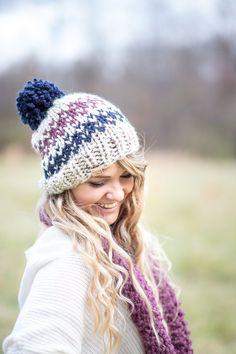 Knit Hat Beanie, Chunky Hat Pom Fair Isle- Ellicott Hat – Knitting For Beginners 2020 Crochet Hat Size Chart, Crochet Beanie Pattern, Knitted Hats, Crochet Hats, Free Crochet, Chunky Knitwear, Knit Beanie, Hat Patterns, Knitting Patterns