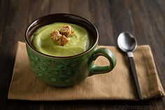 Simple and Beautiful! Vegan Cream of Broccoli Soup from @Patricia K. Young Vegan Kitchen