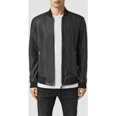 AllSaints Mower Leather Bomber Jacket ($480) ❤ liked on Polyvore featuring men's fashion, men's clothing, men's outerwear, men's jackets, black, mens real leather jackets, mens bomber jacket, mens leather flight jacket, mens leather bomber jacket and mens zip jacket