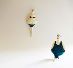 Set of TWOTextile OrnamentsCouple of Swimmers in bluegreen
