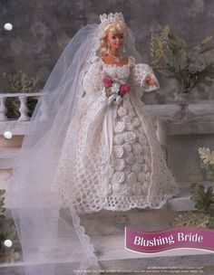 Blushing Bride Gown for Barbie Free Crochet Pattern. free barbie bridal dress crochet pattern from picasaweb via. This is the best quality pattern we could find. More Patterns Like This!