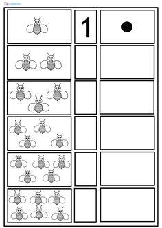 Pracovní list - včela, počítání Pre School, Worksheets, Activities For Kids, Kid Activities, Petite Section, Countertops, Kid Crafts
