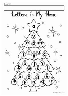 Christmas Preschool No Prep Worksheets and Activities. Christmas tree ornaments letters in my name activity.
