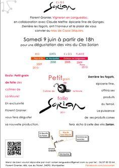 Dégustation des vins Sorian le 9 juin dans le superbe Mas de Cazal en pleine garrigue aux abords de Montpellier