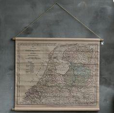 Landkaart NL van stof www.huisjemetspulletjes.nl