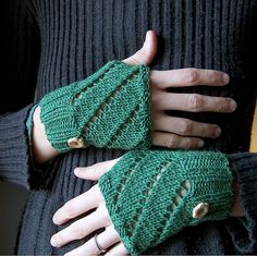 Free knitting pattern for Diagonal Eyelet Hand Warmers - Another great easy mitt pattern from creativeyarn. These wristers are knit flat and seamed.