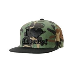DGK I Love Haters Camo Black Snapback Hat ($30) ❤ liked on Polyvore featuring accessories, hats, cap, snapbacks, camo hat, black snapback hats, dgk snapback, camouflage cap and black snapback