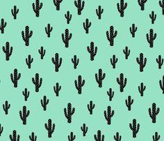 Cactus - Light green fabric by kimsa on Spoonflower - custom fabric