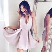 Short Blush Backless Halter Sleeveless Homecoming Cocktail Dress with Pleats
