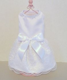 Dog Wedding Dress White Satin and Lace by chicdoggieattire on Etsy  I could make something like this for Lilly to wear to the wedding. :)