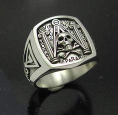 Masonic Skull and Pillar Ring Sterling www.etsy.com/...
