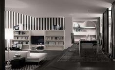 Decoracion de Interiores: Habitacion, Dormitorio, recamara con diseño moderno con estantes para libros.