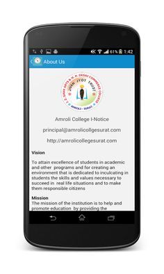 """We have introduced our new Mobile app named """"amroli college"""".we are the first in grant In Aid (Arts & Commerce)College to introduced this kind of mobile application in Gujarat .Kindly visit the following link for more details.it can be download from play store by searching """"amroli college""""     https://play.google.com/store/apps/details?id=com.amrolicollege.inoticeboard"""