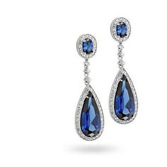 Bling Jewelry Sapphire Color Teardrop Chandelier Earrings ($61) ❤ liked on Polyvore featuring jewelry, earrings, blue, bridal earrings, blue topaz earrings, blue sapphire earrings, blue earrings and long earrings