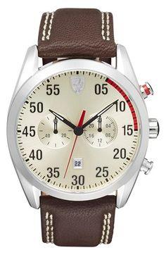 Men's Scuderia Ferrari 'D50' Chronograph Leather Strap Watch