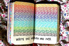 Write one word over and over in a rainbow of colors - for word/phrase of the year