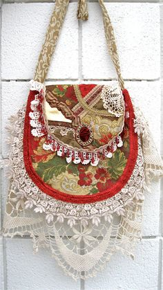 Handbag BOHO Bohemian Crazy Quilt  Lace by Cathyscrazybydesign, $69.00