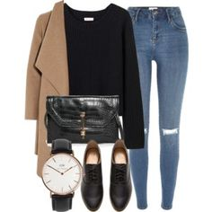 black sweater, camel coat, distressed skinny jeans, black oxfords