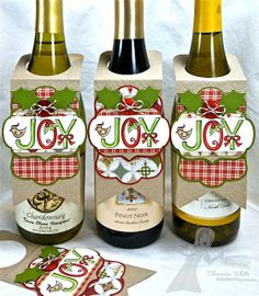 NOT wine.but maybe other drinks bottle tags by Shannon Wine Bottle Tags, Wine Tags, Wine Bottle Crafts, Wine Bottles, Soda Bottles, Christmas Gift Tags, Christmas Paper, Christmas Crafts, Christmas Wine