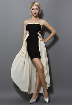 Chiffon Paneled Bustier Dress - New Arrivals - Retro, Indie and Unique Fashion