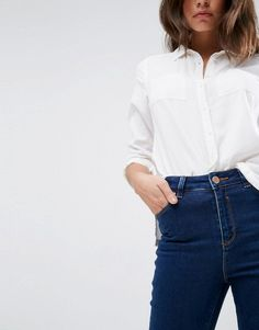 Great combo ASOS RIDLEY High Waist Skinny Jeans in Deep Blue Wash   #ad