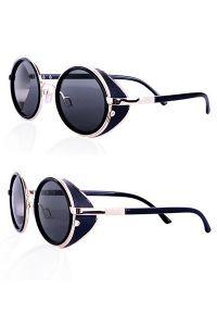 Steampunk Brille mit seitlichem Blendschutz - black-gold