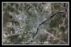 Bangor Maine From Space Satellite Art Poster