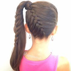 Up side down french braid into ponytail by @mimiamassari